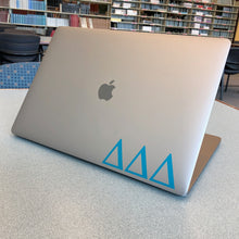 Load image into Gallery viewer, Delta Delta Delta laptop decal in gloss teal
