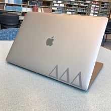 Load image into Gallery viewer, Delta Delta Delta laptop decal in gloss gray metallic