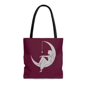 "Lambda Theta Alpha ""Lady on the Moon"" Tote Bag (Burgundy)"
