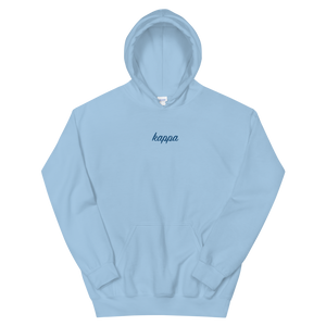 "Kappa Kappa Gamma ""kappa"" Embroidered Script Hoodie (Light Blue/Royal)"