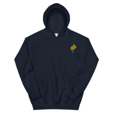 Load image into Gallery viewer, Alpha Phi Omega Torch Logo Embroidered Hoodie (Navy)