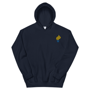 Alpha Phi Omega Torch Logo Embroidered Hoodie (Navy)