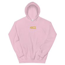 Load image into Gallery viewer, Phi Sigma Sigma Official Letters Embroidered Hoodie (Light Pink)