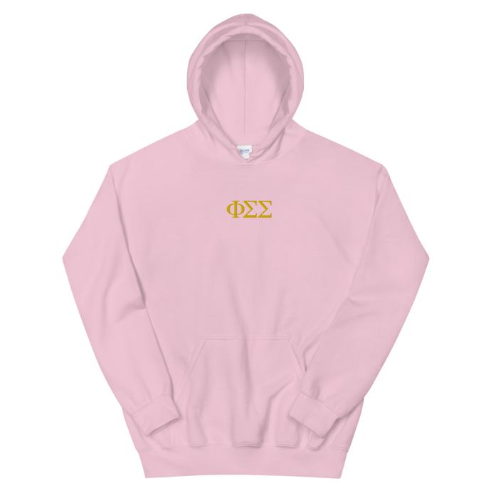 Phi Sigma Sigma Official Letters Embroidered Hoodie (Light Pink)