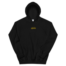 "Load image into Gallery viewer, Delta Phi Epsilon ""dphie"" Embroidered Script Hoodie (Black/Gold)"