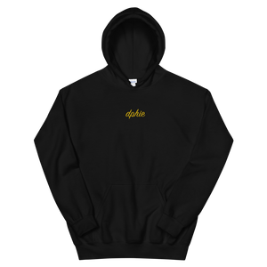 "Delta Phi Epsilon ""dphie"" Embroidered Script Hoodie (Black/Gold)"