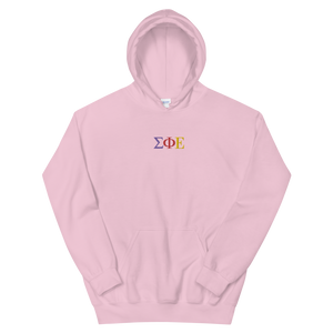 Sigma Phi Epsilon Official Greek Letters Embroidered Hoodie (Light Pink)