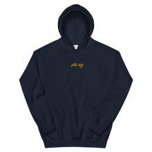 "Load image into Gallery viewer, Phi Sigma Sigma ""phi sig"" Embroidered Script Hoodie (Navy and Gold)"