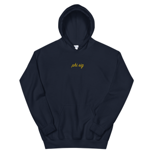"Phi Sigma Sigma ""phi sig"" Embroidered Script Hoodie (Navy and Gold)"