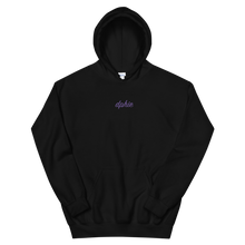 "Load image into Gallery viewer, Delta Phi Epsilon ""dphie"" Embroidered Script Hoodie (Black/Purple)"