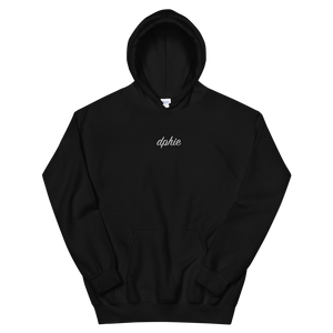 "Delta Phi Epsilon ""dphie"" Embroidered Script Hoodie (Black)"