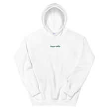 "Load image into Gallery viewer, Kappa Delta ""kappa delta"" Embroidered Script Hoodie (White and Green)"