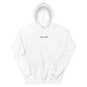 "Kappa Delta ""kappa delta"" Embroidered Script Hoodie (White and Green)"
