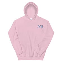Load image into Gallery viewer, Alpha Omega Epsilon Official Letters Embroidered Hoodie (Light Pink)