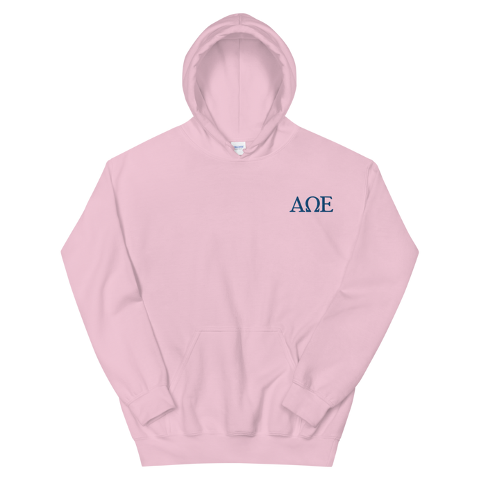 Alpha Omega Epsilon Official Letters Embroidered Hoodie (Light Pink)