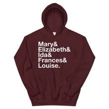 Load image into Gallery viewer, Sigma Kappa Founders Hoodie (Maroon). Reads: Mary and Elizbeth and Ida and Frances and Louise.