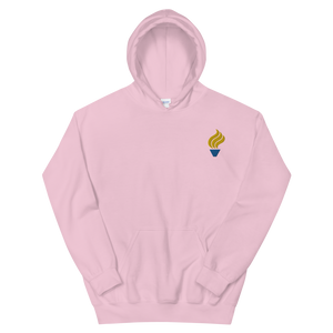 Alpha Phi Omega Torch Logo Embroidered Hoodie (Light Pink)