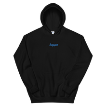 "Load image into Gallery viewer, Kappa Kappa Gamma ""kappa"" Embroidered Script Hoodie (Black and Aqua)"