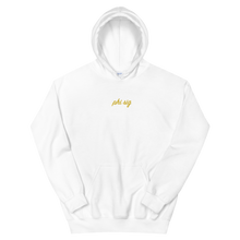 "Load image into Gallery viewer, Phi Sigma Sigma ""phi sig"" Embroidered Script Hoodie (White and Gold)"