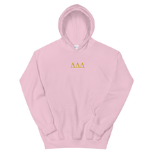 Load image into Gallery viewer, Delta Delta Delta Letters Embroidered Hoodie (Light Pink)