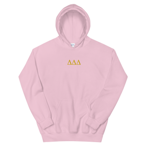 Delta Delta Delta Letters Embroidered Hoodie (Light Pink)