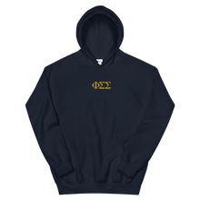 Load image into Gallery viewer, Phi Sigma Sigma Official Letters Embroidered Hoodie (Navy)
