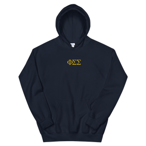 Phi Sigma Sigma Official Letters Embroidered Hoodie (Navy)