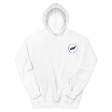 Load image into Gallery viewer, Alpha Xi Delta Quill Embroidered Hoodie (White/Navy)