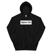 "Load image into Gallery viewer, Alpha Chi Omega ""Alpha Chi"" Block Hoodie (Black)"
