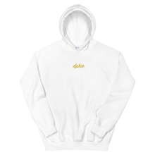 "Load image into Gallery viewer, Delta Phi Epsilon ""dphie"" Embroidered Script Hoodie (White/Gold)"