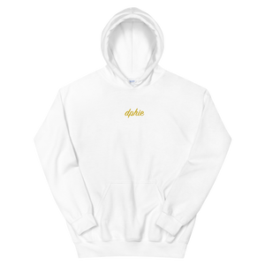 "Delta Phi Epsilon ""dphie"" Embroidered Script Hoodie (White/Gold)"