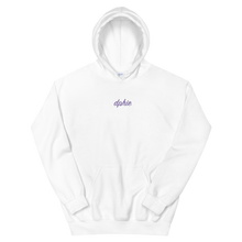 "Load image into Gallery viewer, Delta Phi Epsilon ""dphie"" Embroidered Script Hoodie (White/Purple)"
