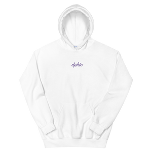 "Delta Phi Epsilon ""dphie"" Embroidered Script Hoodie (White/Purple)"