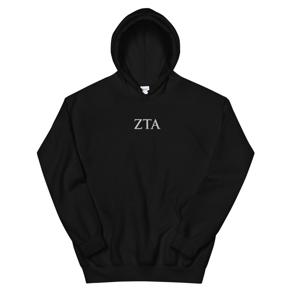 Zeta Tau Alpha Official Letters Embroidered Hoodie (Black)