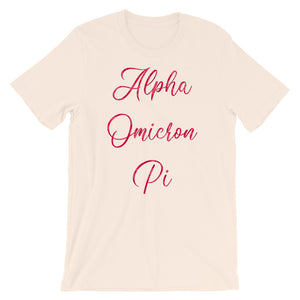 Alpha Omicron Pi Rose Pattern Shirt (Soft Cream)