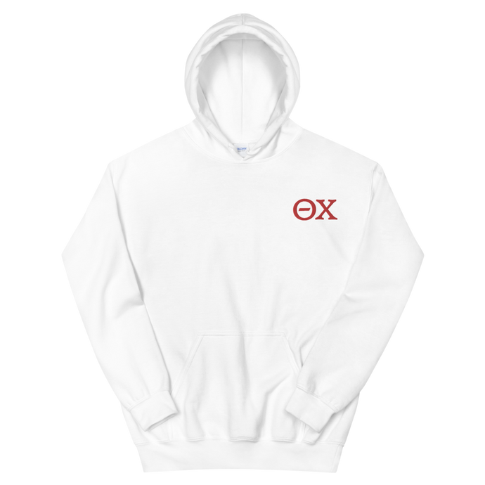 Theta Chi Official Letters Embroidered Hoodie (White and Red)