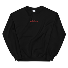 "Load image into Gallery viewer, Alpha Omicron Pi ""alpha o"" Embroidered Script Sweatshirt"