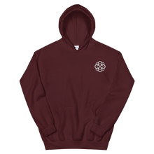Load image into Gallery viewer, Alpha Omicron Pi Infinity Rose Embroidered Hoodie (Maroon and White)