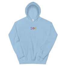Load image into Gallery viewer, Sigma Phi Epsilon Official Greek Letters Embroidered Hoodie (Light Blue)