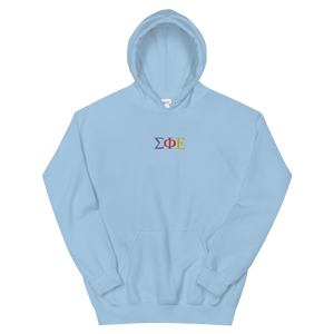 Sigma Phi Epsilon Official Greek Letters Embroidered Hoodie (Light Blue)
