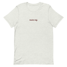 "Load image into Gallery viewer, Lambda Theta Alpha ""lambda lady"" Embroidered Script Shirt (Ash)"