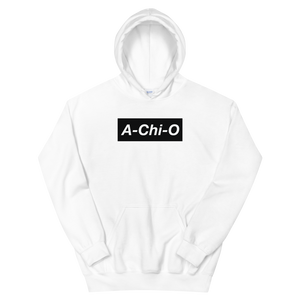 "Alpha Chi Omega ""A-Chi-O"" Block Hoodie (White)"