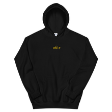 "Load image into Gallery viewer, Chi Omega ""chi o"" Embroidered Script Hoodie (Black)"