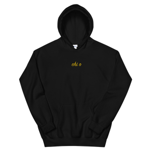 "Chi Omega ""chi o"" Embroidered Script Hoodie (Black)"