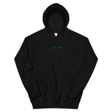 "Load image into Gallery viewer, Kappa Delta ""kappa delta"" Embroidered Script Hoodie (Black and Green)"