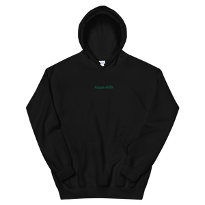 "Kappa Delta ""kappa delta"" Embroidered Script Hoodie (Black and Green)"