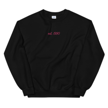 "Load image into Gallery viewer, Sigma Lambda Gamma ""est. 1990"" Embroidered Script Sweatshirt"