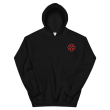 Load image into Gallery viewer, Alpha Omicron Pi Infinity Rose Embroidered Hoodie (Black and Red)