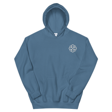 Load image into Gallery viewer, Alpha Omicron Pi Infinity Rose Embroidered Hoodie (Indigo Blue and White)