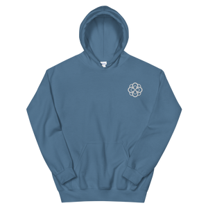 Alpha Omicron Pi Infinity Rose Embroidered Hoodie (Indigo Blue and White)